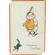 1910s Vintage Postcard Halloween Cat Clown Boy Jack-O-Lantern