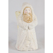 Large German Snow Baby Santa with Blond Beard and Basket Container