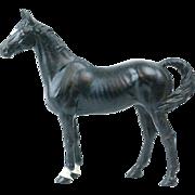 "SOLD 1930s Medium Hubley Cast Iron Black Beauty Horse Door Stop 3"" - Red Tag Sale Item"