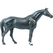 """SOLD 1930s Small Hubley Cast Iron Black Beauty Horse Door Stop 10.5"""" - Red Tag Sale Item"""