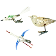 1900s Three German Glass Bird Clip Ornaments