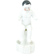 1910s German Bisque Tiny Frozen Charlotte Sitting on a Pedestal 2 3/4""