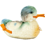 """1950s German Steiff Sitting Duck 2314 with Jointed Head 8"""""""