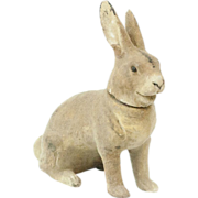 """1910s German Small Poured Papier Maché Rabbit Candy Container 4 1/2"""""""