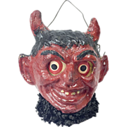 SOLD Antique German Poured Papier Maché Krampus Devil Jack-O-Lantern 4""