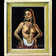 1950s Vintage Velvet Hawaiian Nudie Girl Painting in Original Frame