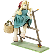 "1930s Italian Felt Magis Peasant Girl Doll Sitting on a Fence 9"""