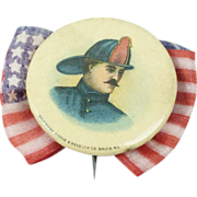 """SOLD Antique Baltimore Fireman Pinback with Flag Bow 1 1/4"""""""