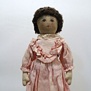 Pre 1920's Babyland Rag Doll with Unusual Brown Wig and Pink Dress