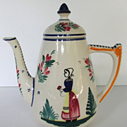 Vintage HB Quimper Coffee Pot Faience