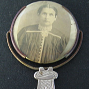 Celluloid Pocket Portrait Mirror, 1901-25, Silver-plate Handle