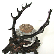 Bronze Deer Head Inkwell  Stag with Antlers