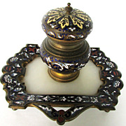 19th Century French Enamel & Bronze Champleve Inkwell