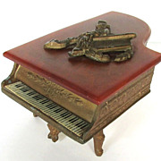 SOLD Vintage Swiss Grand Piano Music Box, Bakelite Lid, 1940s