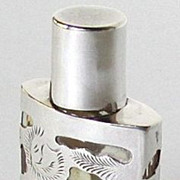 Vintage Mexican Sterling Silver Overlay Glass Perfume Bottle