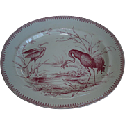 "REDUCED Large  Red Platter ""Aquatic""-Cranes or Egrets, Pond scene, rushes and reeds,"