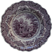 """Gothic Beauties"" soup plate: Gothic building or church, lake, sailboat"