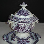 SOLD Lavender Sauce Tureen-Floral pattern-3 pieces