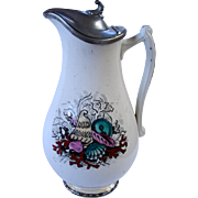 Milk Pitcher With Pewter Lid: Seashells & Seaweeds