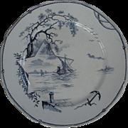 Nautical theme transfer plate: Star, sailing ship, sailboats, anchor, Birds