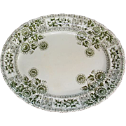 REDUCED Green Oxford platter-Daisies and fruit