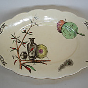 """Paragon"" pattern platter: Oriental fans, vases ,bamboo, peacock feather ,red bird"