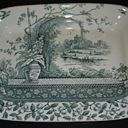 """REDUCED Green """"Rustic""""  platter: Large vase, river scene  buildings with turrets"""