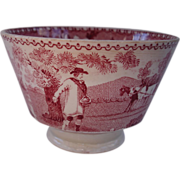 """Pink cup/saucer in the """" The Sower""""/ Farmer  pattern"""