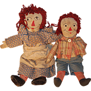 SOLD Set of Hand made Raggedy Ann and Andy dolls, c. 1930