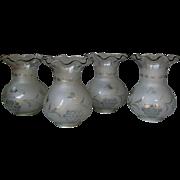 Set 4 Antique Mid 19th Century ASTRAL Blown & Cut Glass LAMP SHADES circa 1850