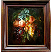 SOLD Beautiful ANTIQUE Oil Painting on Panel STILL LIFE with FRUIT Artist Signed