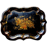 ANTIQUE 19th Century TOLEWARE TRAY with Hand Painted JAPANNING circa 1830 - 1850