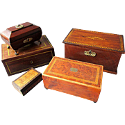 Small Collection ANTIQUE 19th Century Wooden Inlaid & Burl Wood TABLE TOP BOXES