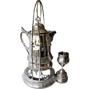 Beautiful ANTIQUE Aesthetic Period HOMAN CO. Silverplated WATER PITCHER with Stand & Cup