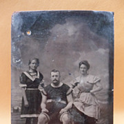 Vintage Tintype of Family in Staged Studio Beach Scene