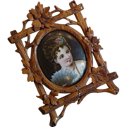 Miniature Wood Framed Portrait on Porcelain
