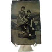 Vintage Tintype of Women Dressed in Bathing Suits