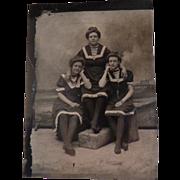 Vintage Tintype of Women in Studio Beach Scene