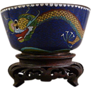 Chinese Cloisonne Enamel Dragon Bowl with Carved Wood Pedestal Base