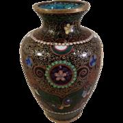 Small Japanese Oriental Cloisonne Enamel Vase Butterflies