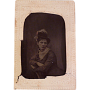 Vintage Tintype of Woman Wearing Fanciful Hat
