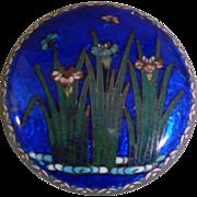 Japanese Cobalt Blue Foil Cloisonne Enamel Pill Box
