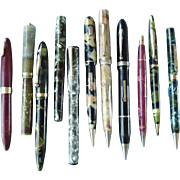 Collection of Vintage Fountain Pens and Mechanical Pencils for Repair or Parts
