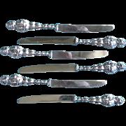 Vintage Set of Six Sterling Silver Fruit Knives