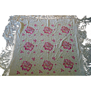 Vintage Embroidered Piano Scarf Shawl Tablecloth