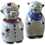 Vintage Shawnee Large Heart Smiley and Winnie Salt and Pepper Shakers