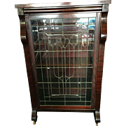 Empire Revival Bookcase or China Cabinet with Leaded Glass Door