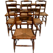 Set of Six Hitchcock Dining Chairs Cane Rush Seats Arm Chair