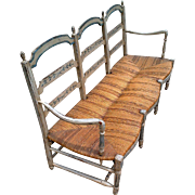 Early Country French Rush Seat Settee or Radassier