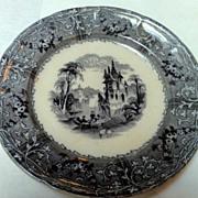 19th Century Black Transferware Rhone Scenery Plate